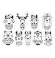 set with deer llama lamb cat cougar wolf fox vector image vector image