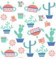 tea and cactus seamless patternit is located in vector image