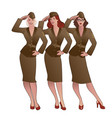 three army girls in retro style wearing soldiers vector image vector image