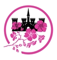 twig sakura blossoms and castle Logo vector image