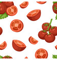 vegetable organic food ripe sliced tomato seamless vector image vector image