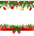xmas borders with ribbon vector image vector image