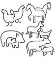 farm animals set livestock eps 10 vector image