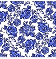 pattern blue rose branch vector image