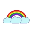 rainbow and clouds on white background vector image
