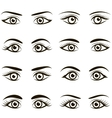 Set of black icons of eyes and brows vector image