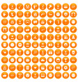 100 emotion icons set orange vector image vector image