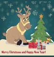 a christmas deer sitting among christmas gifts vector image