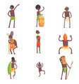 African tribe members dancing and doing religious vector image