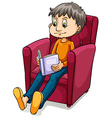 Boy sitting at the chair vector image vector image