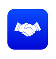 business handshake icon digital blue vector image