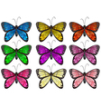Butterflies in different colors vector image