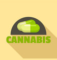 cannabis pill logo flat style vector image vector image
