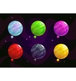 Cool bright colorful fantasy planets vector image