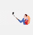 couple in love a guy and a girl do selfie vector image