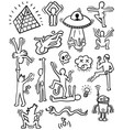 crazy cartoon characters set line art vector image vector image