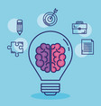 creative brain set icons vector image vector image