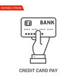 credit card pay icon thin line vector image