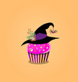 cute halloween cupcake with purple cream witch vector image vector image