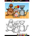 cute pets cartoon coloring book vector image vector image