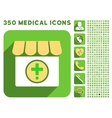 Drugstore Icon and Medical Longshadow Icon Set vector image vector image
