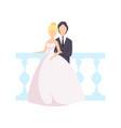 elegant couple newlyweds posing for photo vector image vector image