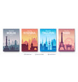 european famous city scapes set vector image vector image