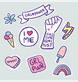 feminism slogan and patches vector image vector image