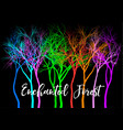 forest with vivid colorful trees vector image vector image