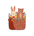 funny cute adorable animal kid toy game basket vector image vector image