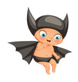 funny smiling kid in bat costume flat poster vector image vector image