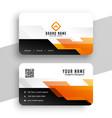 geometric orange professional business card vector image vector image