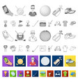 golf and attributes flat icons in set collection vector image vector image