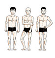 handsome men posing in black underwear people set vector image vector image