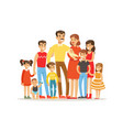 happy big caucasian family with many children vector image vector image