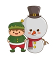 happy merry christmas snowman kawaii style vector image