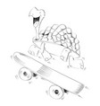 happy smiling turtle running with a skateboard vector image