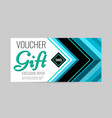 horizontal gift voucher blue lines on white vector image vector image