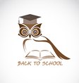 image an owl glasses with college hat vector image