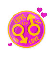 love concept circle lable with symbols of vector image vector image