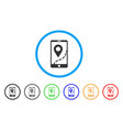 mobile map navigation rounded icon vector image vector image