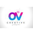 ov o v letter logo with shattered broken blue vector image vector image