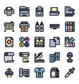 printer and plotter outline color icons vector image vector image
