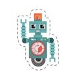 robot machine alarm clock wheel siren cutting line vector image vector image