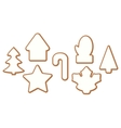 Set 4 of Christmas and New year gingerbread with vector image