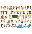 set doodle kids character vector image vector image