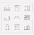 set of interior design icons line style symbols vector image