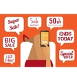 Shopping addiction Sale signs Flat vector image
