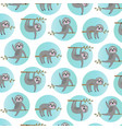 sloth pattern with blue circles vector image