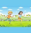 two children are running through a park vector image